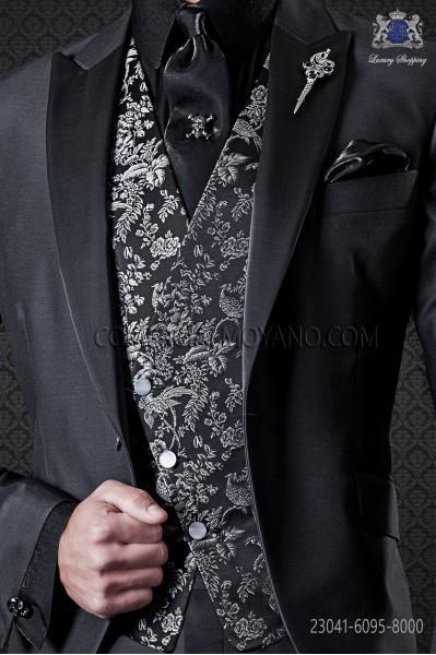 Black jacquard silk brocade waistcoat.
