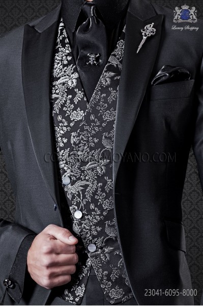 Chaleco brocado seda jacquard negro.