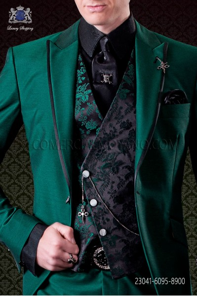 Black with green flowers asymmetric waistcoat in pure jacquard silk