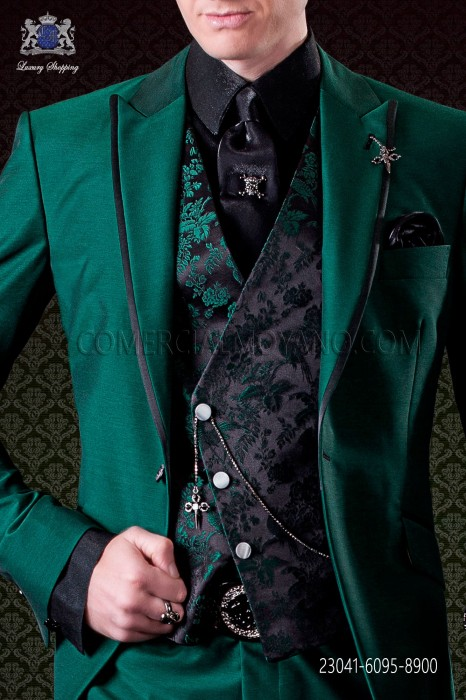 Black with green flowers asymmetric waistcoat in pure jacquard silk