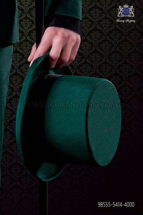 Green top hat plain fabric matching suit