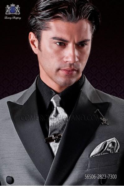 Silver marrow tie and handkerchief set in pure jacquard silk
