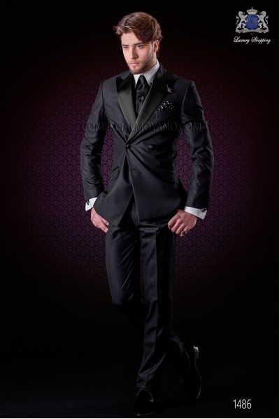 Italian black fashion double breasted suit Slim fit. Satin peak lapels and 6 buttons. Shiny fabric.