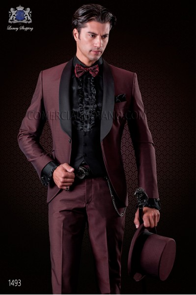 Italian maroon fashion tuxedo groom suit slim fit. Shawl collar and 1 button. Fabric wool mix.