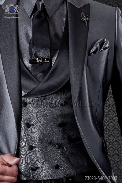 Groom double breasted waistcoat Italian tailoring, 8 button. Gray and black Jacquard fabric.