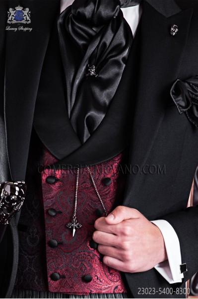 Chaleco de novio cruzado de sastrería italiana, 8 botones. Tejido Jacquard rojo y negro.