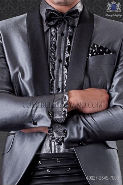 Steel gray lurex shirt with fashion small collar