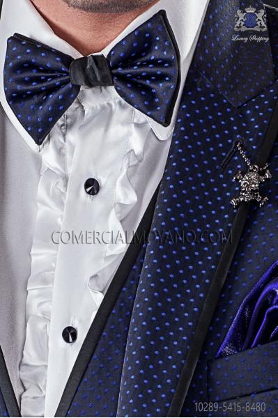 Bicolor bow tie black satin with blue polka dots