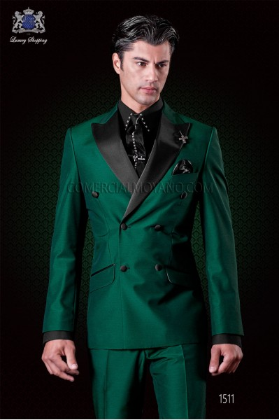 Italian green fashion double breasted suit Slim fit. Satin peak lapels and 6 buttons. Wool mix fabric.