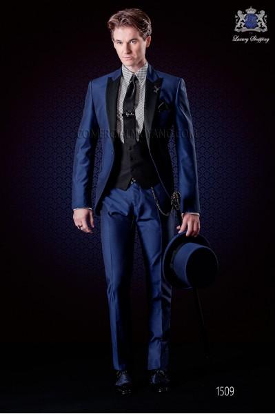 """Traje italiano azul eléctrico de moda """"Slim"""". Modelo solapa pico 1 botón. Tejido mixto lana."""
