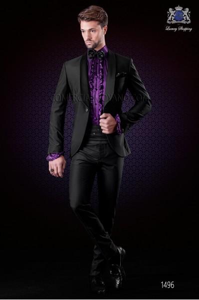 Italian wedding suit black tuxedo. Satin shawl collar and 1 button. Fabric wool mix.