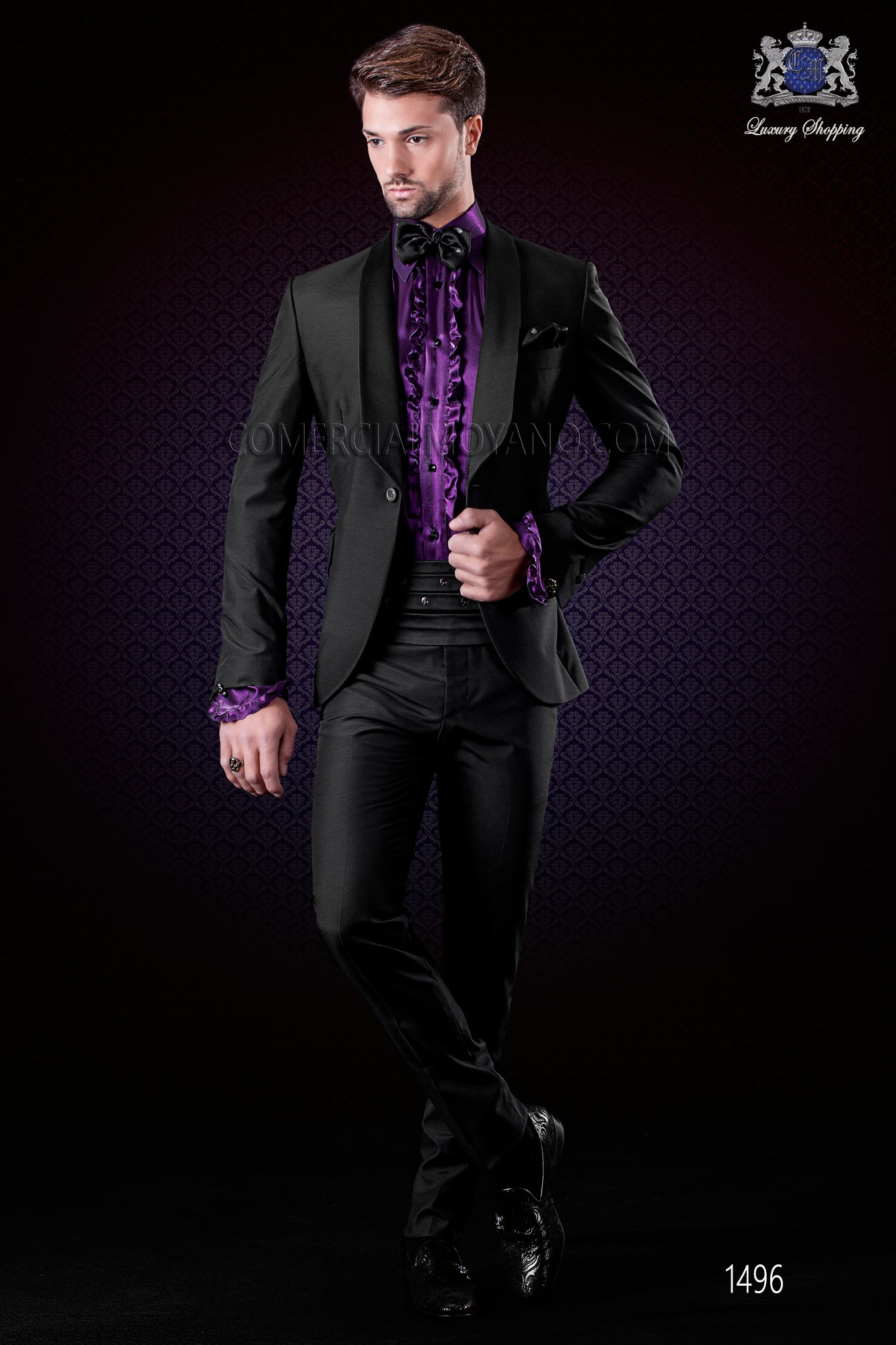Italian wedding suit black tuxedo slim fit Ottavio Nuccio Gala