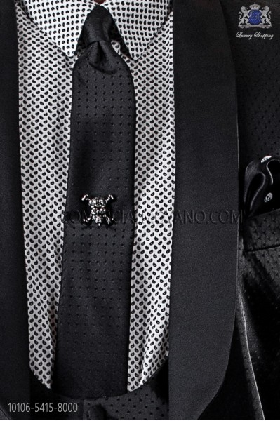 Narrow black fashion tie with black polka dots