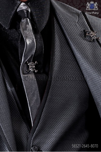 Black and gray lurex tie and handkerchief 56521-2645-8070 Ottavio Nuccio Gala.