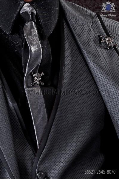 Black and gray lurex tie and handkerchief