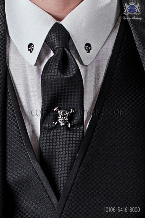 Narrow black fashion tie with microdots
