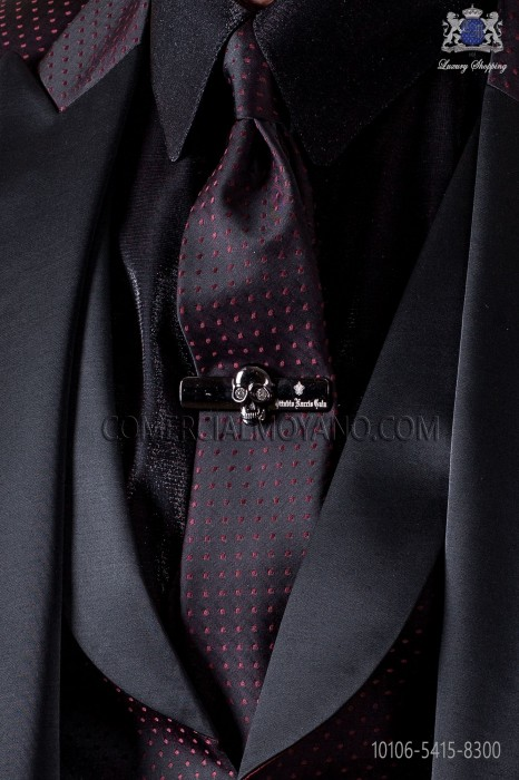 Narrow black fashion tie with red polka dots