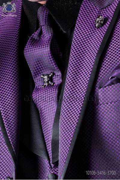 Narrow purple fashion tie with black microdots