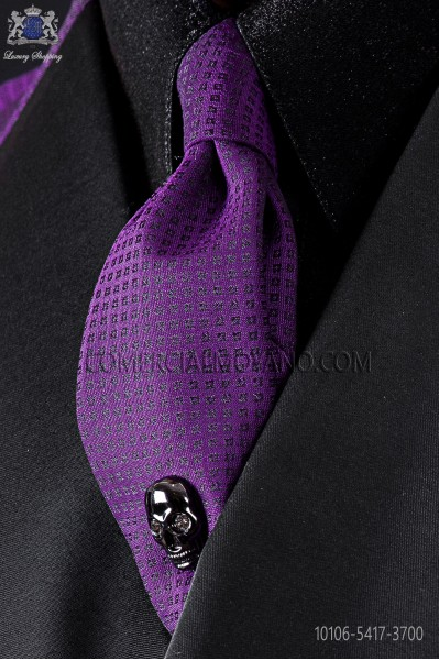 Narrow purple fashion tie with black micro patterns