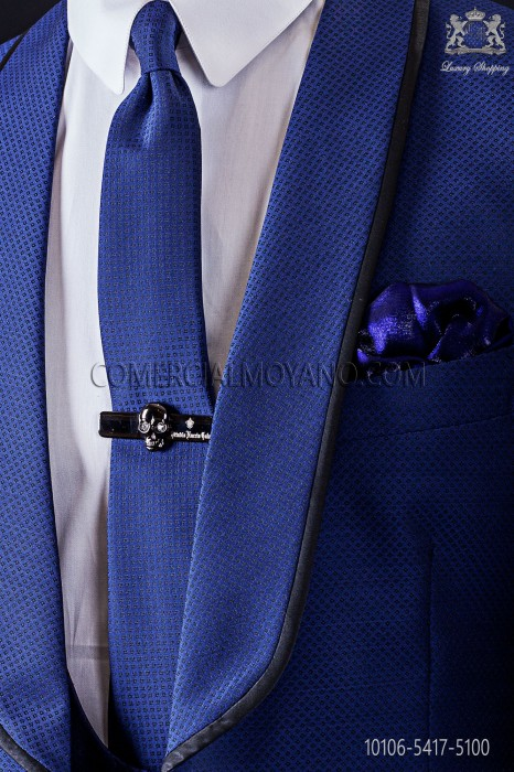 Narrow blue fashion tie with black micro patterns