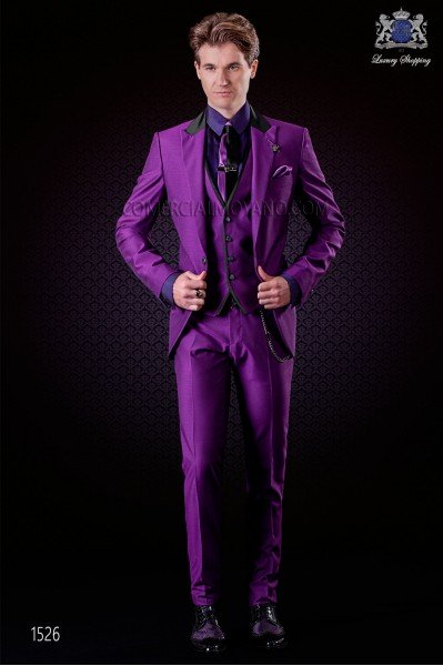 Italian violet groom suit 3 pcs slim fit. Peak lapels and 1 button. Wool mix fabric.
