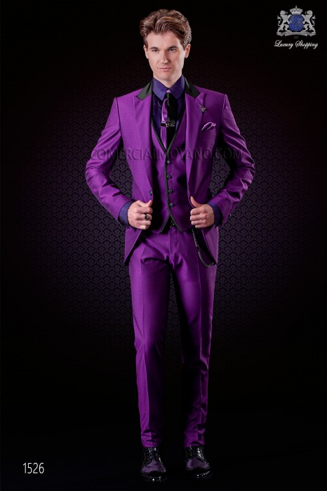 Italian violet groom suit 3 pcs slim fit. Peak lapels and 1 button. Wool mix fabric.