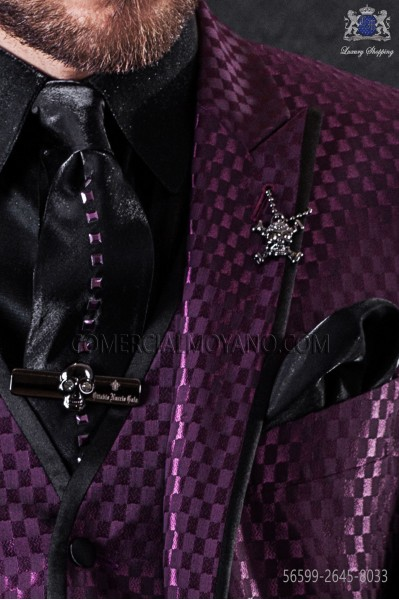 Lurex black tie with purple metal fixtures & black matching handkerchief