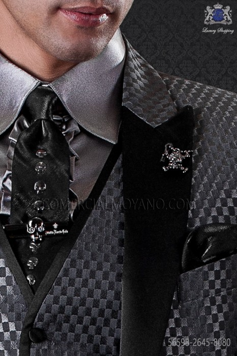 Black lurex tie and handkerchief with skulls transfers