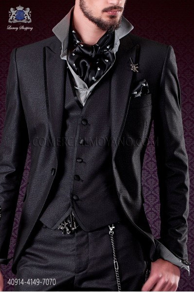 Gray satin shirt with black houndstooth