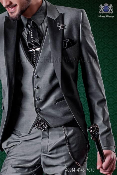 Gray shirt with black pinstripes