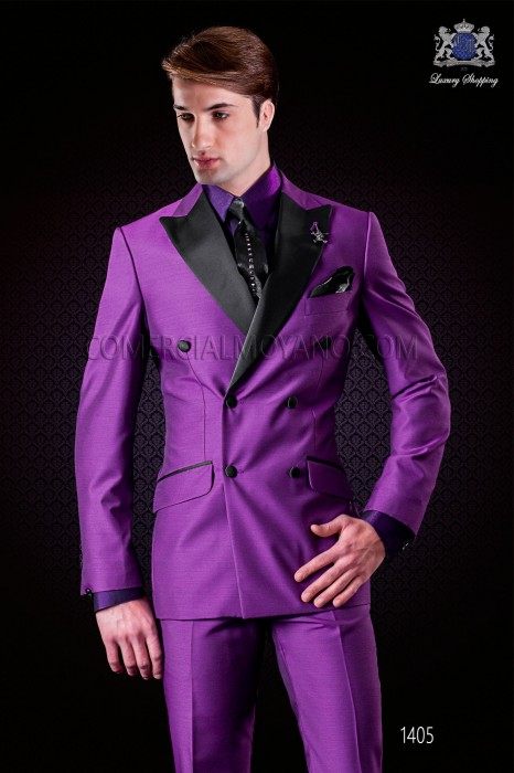 Italian purple fashion double breasted suit Slim fit. Satin peak lapels and 6 buttons. Wool mix fabric.