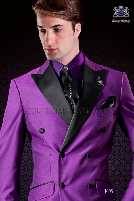 Italienische zweireihig purpur Anzug Slim Fit. Spitzen Satin Revers und 6 Knöpfe. Wollmischung.