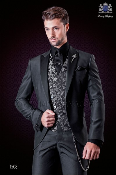 Italian wedding suit anthracite grey. Satin peak lapels and 1 button. Wool mix fabric.