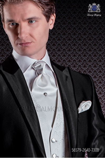 Pearl gray satin ascot tie and pocket handkerchief