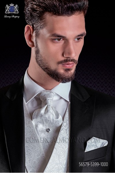 Groom ascot tie with pocket handkerchief white jacquard design