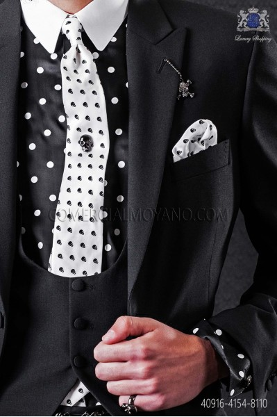 Black shirt with white polka dots & white small collar