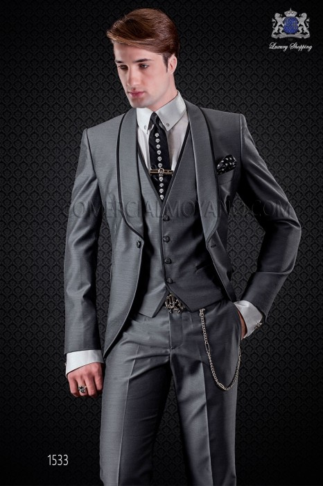 Italian wedding suit grey tuxedo with shawl lapels with satin contrast and 1 button. Wool mix fabric.