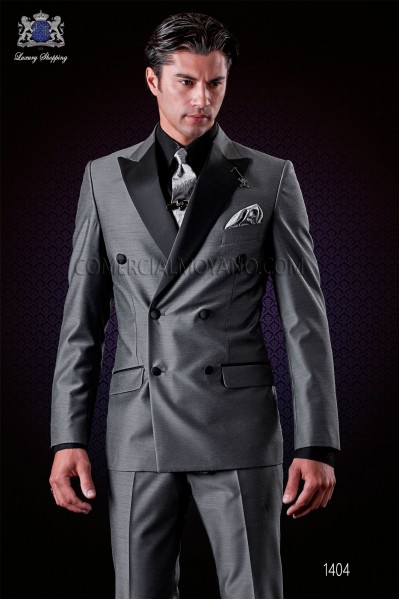 Italian grey fashion double breasted suit with satin peak lapels and 6 buttons. Wool mix fabric.