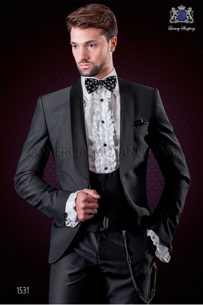Italian tuxedo trendy suit dark grey. Shawl collar and 1 button. Fabric wool mix.