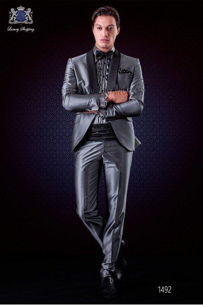 Italian wedding suit grey tuxedo. Satin shawl collar and 1 button.