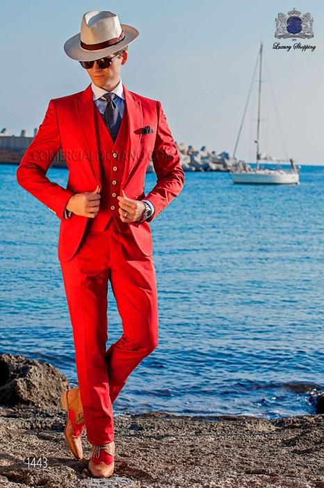 """Traje italiano con moderno estilo """"Slim"""" de solapas """"V"""" y 2 botones. Tejido color naranja 100% algodón"""
