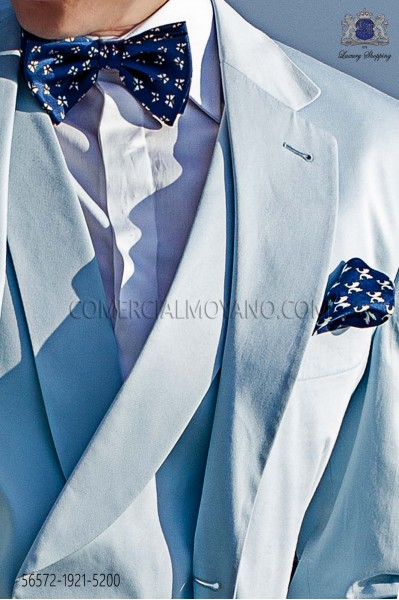 Blue silk bow tie and pocket handkerchief white microdesign