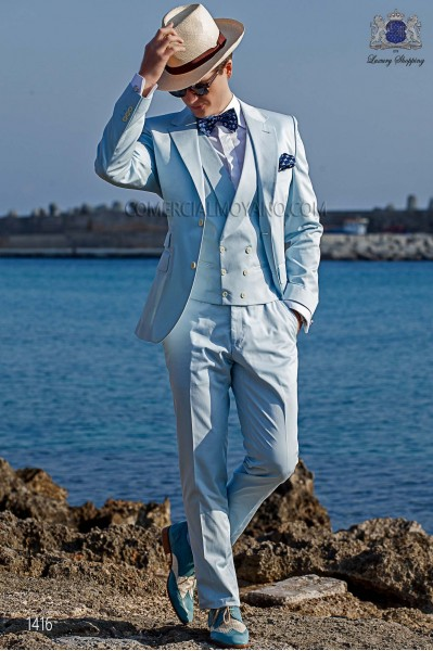 "Italian suit with modern ""Slim"" flap ""V"" and 2 buttons. Woven light blue 100% cotton"