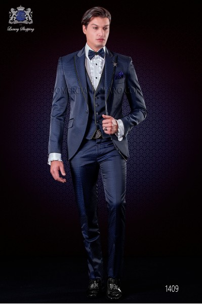 Italian fashion suit black-royal blue polka dots micro design. Peak lapel wirh satin trims and 1 button.