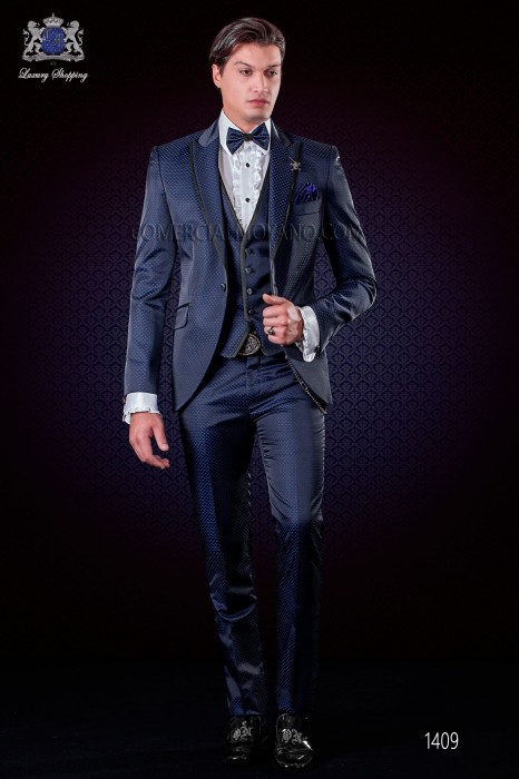 Italian fashion suit black-royal blue polka dots micro design. Peak lapel wirh satin trims and 1 button.