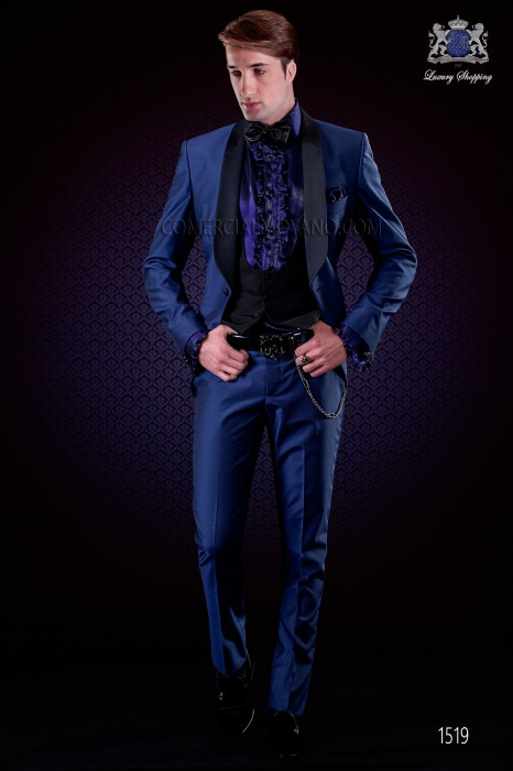 Italian electric blue fashion tuxedo suit. Shawl collar and 1 button. Fabric wool mix.
