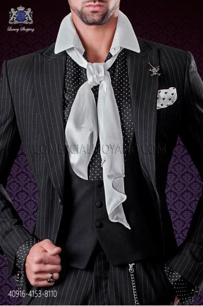 Black satin shirt with white polka dots & white small collar