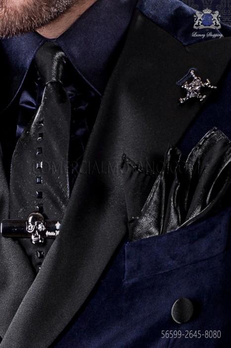 Black narrow tie with dark metal fixtures & black matching handkerchief