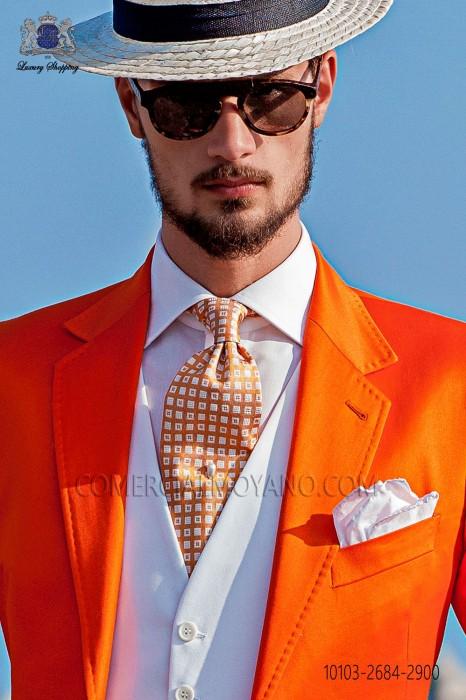 Orange and white 100% silk tie printed