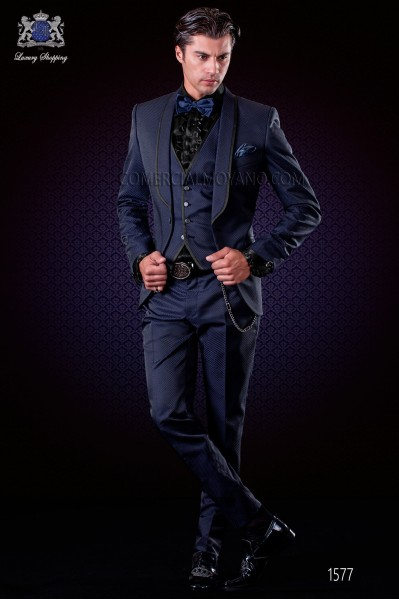 Italian fashion tuxedo black-royal blue polka dots micro design. Shawl collar with satin trims and 1 button.